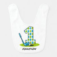 Argyle Golf 1st Birthday Baby Bib