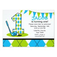 Argyle Golf 1st Birthday Invitation
