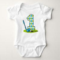 Argyle Golf 1st Birthday Personalized Baby Bodysuit