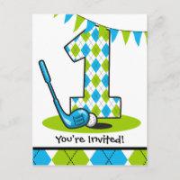 Argyle Golf 1st Birthday Postcard Invitation