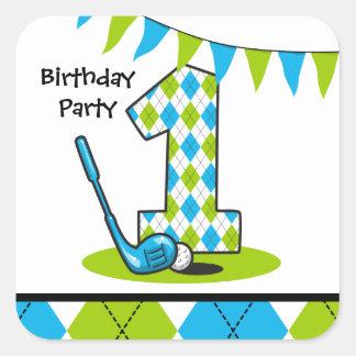 Argyle Golf 1st Birthday Square Sticker