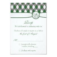 Argyle Golfball Golf Green Monogram Wedding RSVP Card