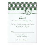 Argyle Golfball Golf Green Monogram Wedding RSVP Announcement