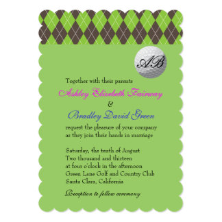 Argyle Golfball Golfing Green Monogram Wedding Card