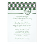 Argyle Golfball Golfing Green Monogram Wedding Personalized Invites