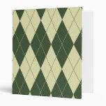 Argyle Green and White Cream Vinyl Binder