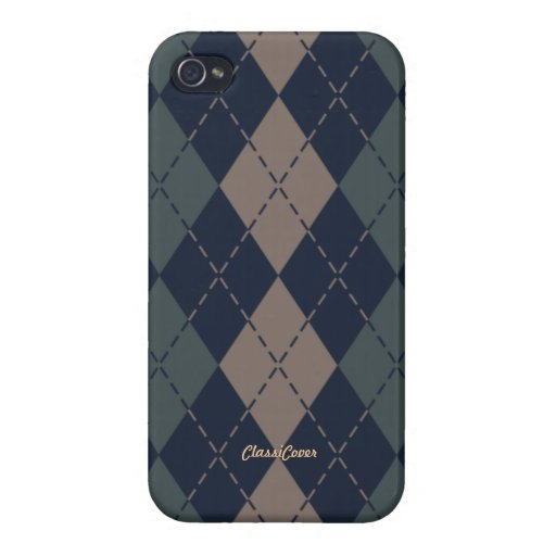 Argyle Green Blue Tan Pattern Savvy Covers For iPhone 4
