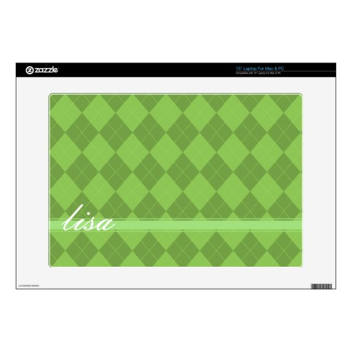 """Argyle Green customizeable name Decals For 15"""" Laptops"""