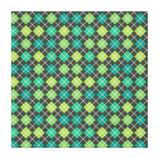 Argyle Green Teal Grey Stretched Canvas Print