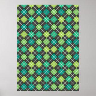 Argyle Green Teal Grey Poster