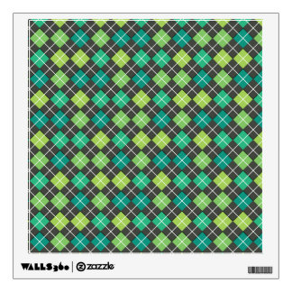 Argyle Green Teal Grey Wall Graphics