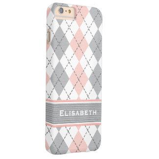 Argyle gris rosado de muy buen gusto funda de iPhone 6 plus barely there