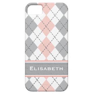 Argyle gris rosado de muy buen gusto iPhone 5 Case-Mate cárcasa