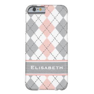Argyle gris rosado de muy buen gusto funda de iPhone 6 barely there
