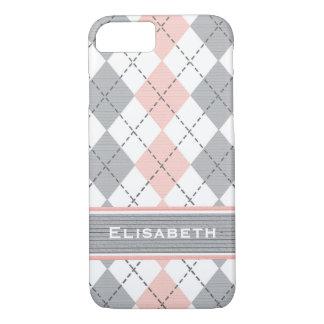 Argyle gris rosado de muy buen gusto funda iPhone 7