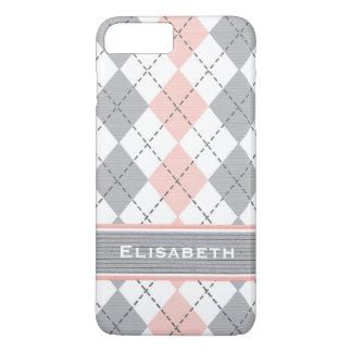 Argyle gris rosado de muy buen gusto funda iPhone 7 plus