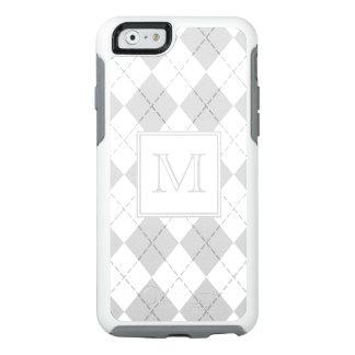 Argyle gris y blanco con monograma funda otterbox para iPhone 6/6s
