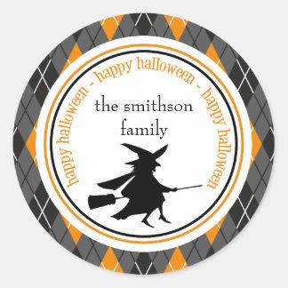 Argyle Happy Halloween Witch (Black / Orange) Classic Round Sticker