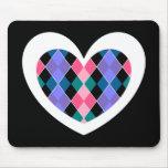 Argyle heart mouse pad