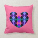 Argyle heart pillows
