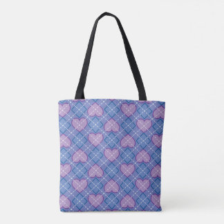Argyle Hearts and Diamonds - Lavender and Blue Tote Bag