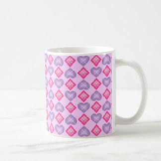 Argyle Hearts and Diamonds: Lavender and Pink Coffee Mug