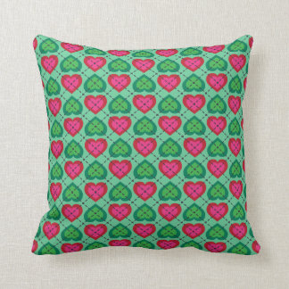 Argyle Hearts: Hot Pink and Green on Green Throw Pillow