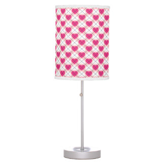 Argyle Hearts: Hot Pink and White on Pink Desk Lamp
