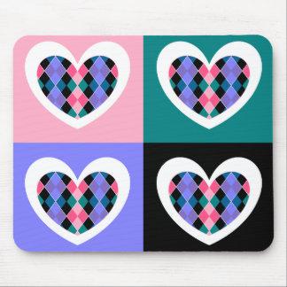 Argyle hearts mouse pad