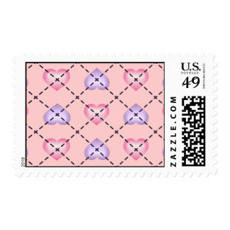 Argyle Hearts: Pink and Lavender Fade Postage