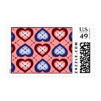 Argyle Hearts: Salmon and Blue Fade Postage