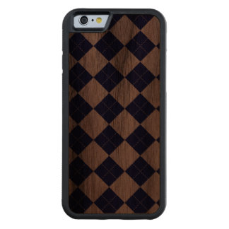Argyle in Blues Carved® Walnut iPhone 6 Bumper