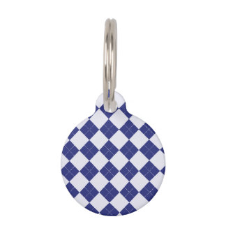 Argyle in Blues Pet Name Tags