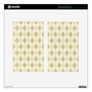 Argyle in Sage, sandalwood, Cream Decals For Kindle Fire