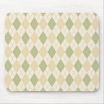 Argyle in Sage, sandalwood, Cream Mouse Pad