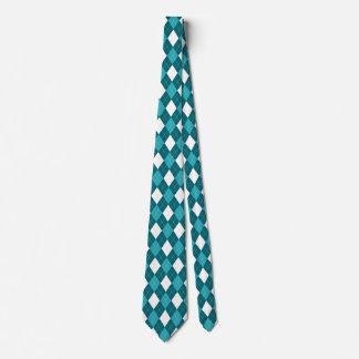 ARGYLE in Teal Blue & White (pattern design) ~~~ Tie
