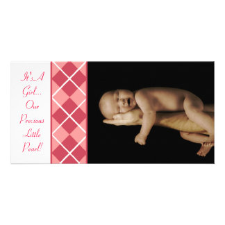 Argyle - It s A Girl Our Precious Little Pearl Photo Greeting Card