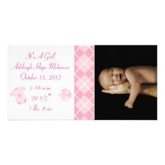 Argyle - It s A Girl Our Precious Little Pearl Custom Photo Card