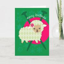Argyle lamb sheet knitting needles Christmas card