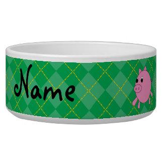 Argyle lindo conocido personalizado del verde del comedero para mascota