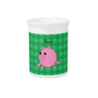 Argyle lindo conocido personalizado del verde del jarra de beber