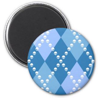 Argyle malvado azul imán redondo 5 cm