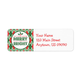 Argyle May Your Days Be Merry And Bright Christmas Label