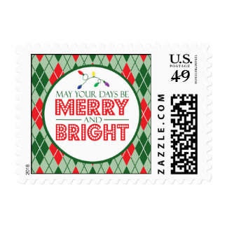Argyle May Your Days Be Merry And Bright Christmas Postage Stamp