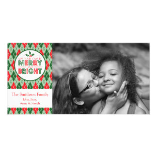 Argyle May Your Days Be Merry Christmas Photo Card