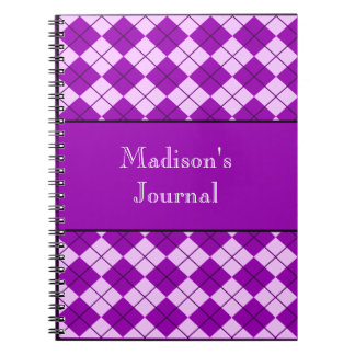 Argyle modeló el cuaderno - púrpura