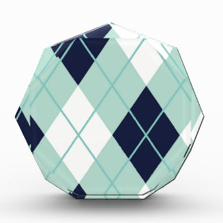 Argyle modern pattern teal navy blue preppy fun awards