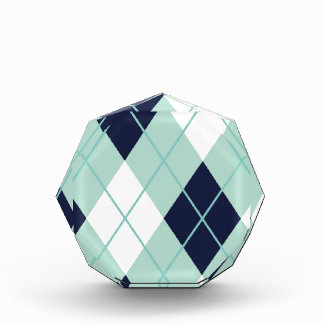 Argyle modern pattern teal navy blue preppy fun acrylic award