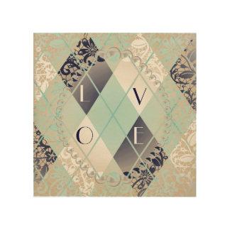 Argyle modern pattern teal navy blue preppy fun wood canvases