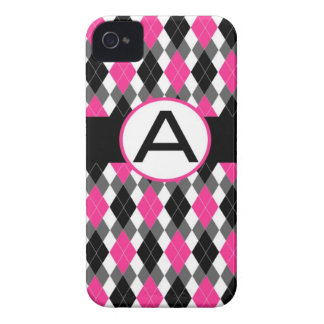 Argyle Monogrammed iPhone 4 Case - Hot Pink & Blac